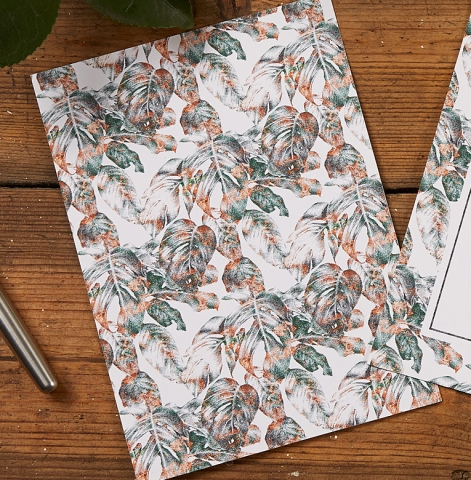 Patterned Reverse of Urban Jungle Wedding Invitation by The Kat & Monocle