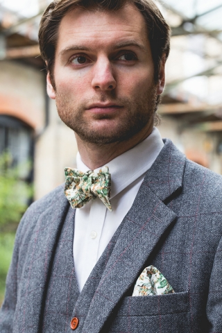 Urban Jungle Bow Tie and Pocket Square in Situ by The Kat & Monocle