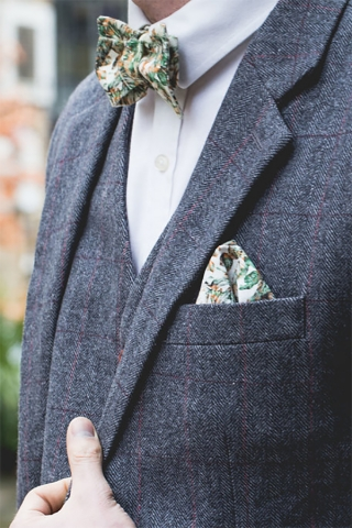 Urban Jungle Bow Tie and Pocket Square in Situ Detail Shot by The Kat & Monocle