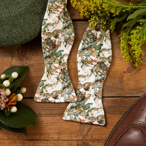 Urban Jungle Handmade Bow Tie (Untied) by The Kat & Monocle