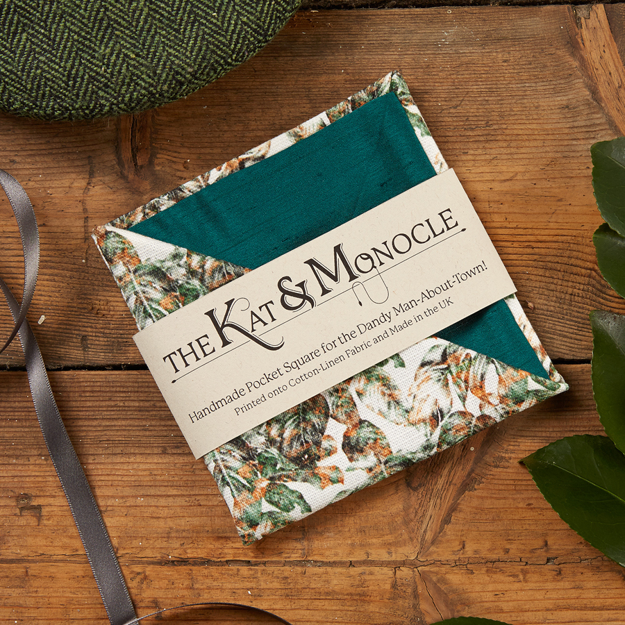 Urban Jungle Handmade Pocket Square in Packaging by The Kat & Monocle