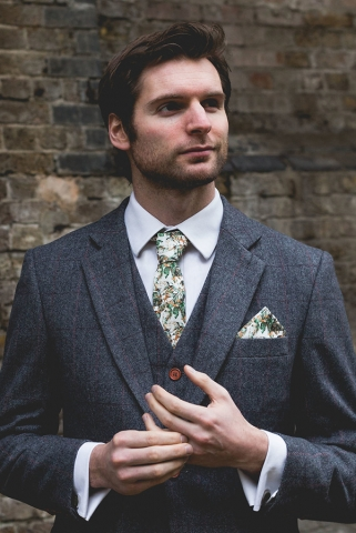 Urban Jungle Skinny Tie and Pocket Square in Situ by The Kat & Monocle