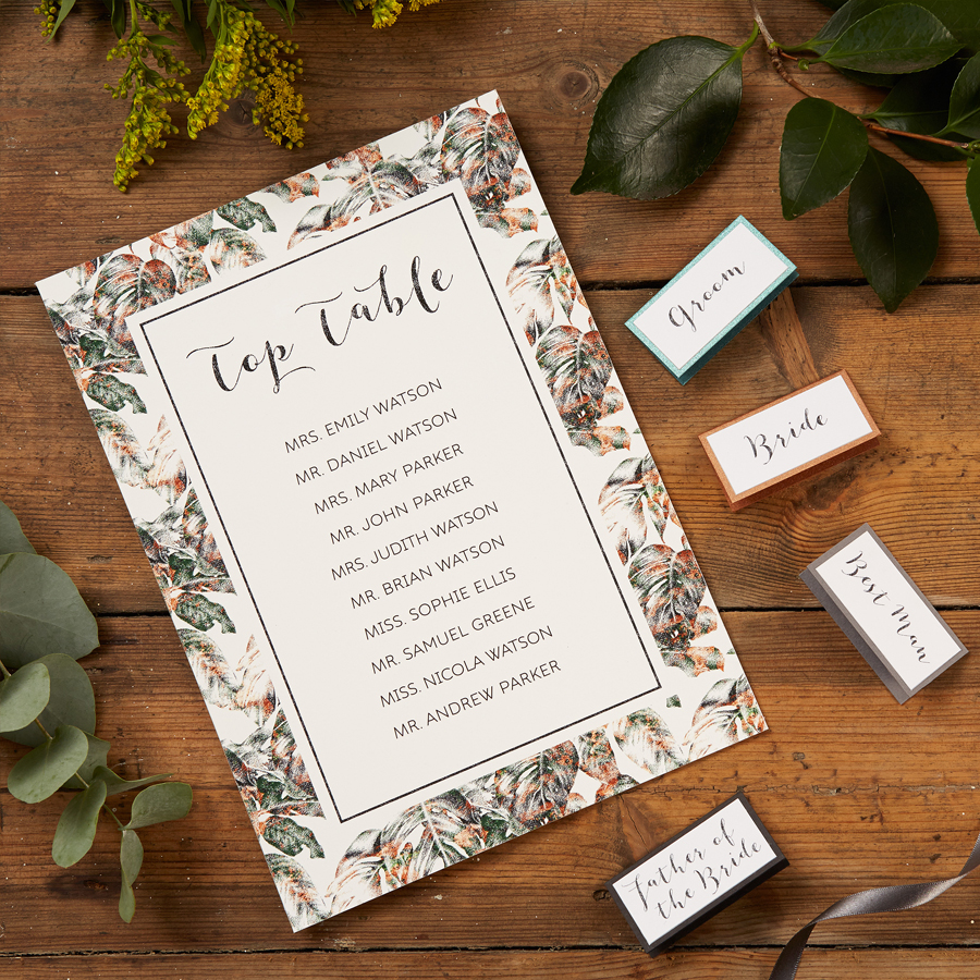 Urban Jungle Table Plan and Place Name Cards by The Kat & Monocle