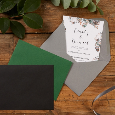 Urban Jungle Wedding Envelope Colour Options in Ebony, Forest Green or Grey by The Kat & Monocle