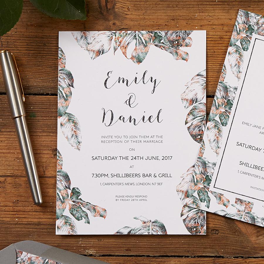 Urban Jungle Wedding Invitation Detail Shot by The Kat & Monocle