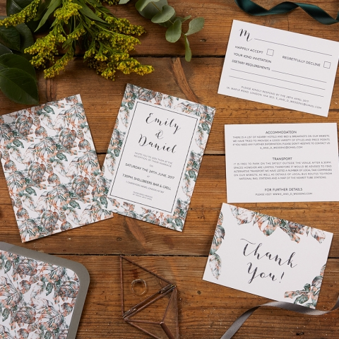 Urban Jungle Wedding Invitation Set Layout Option 2 with Reverse Sides and Lined Grey Envelope by The Kat & Monocle