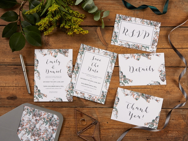 Urban Jungle Wedding Invitation Set with Lined Grey Envelope by The Kat & Monocle